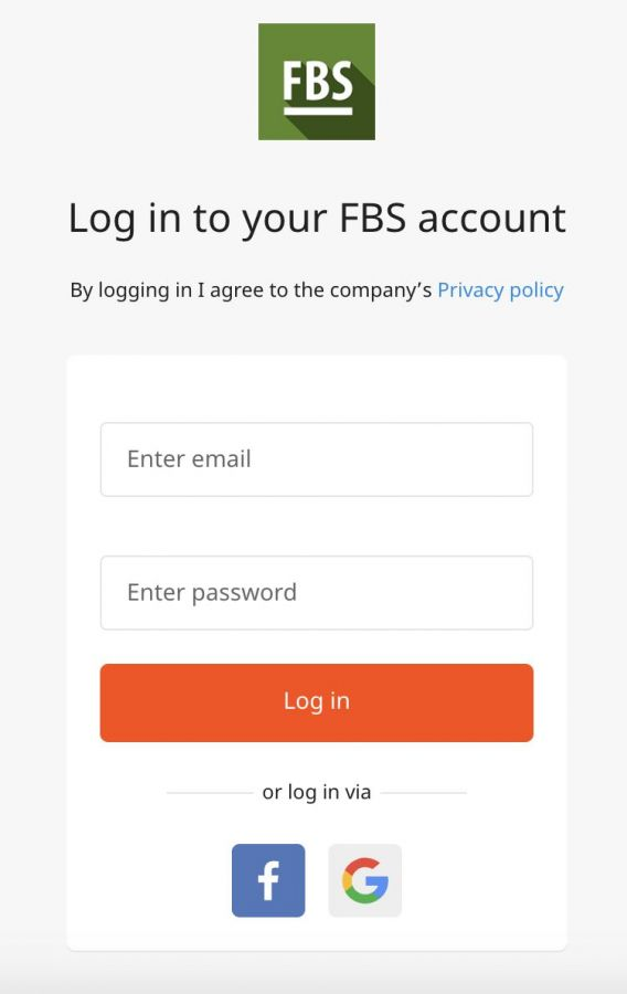 Log in to your FBS account By logging in I agree to the company's Privacy policy